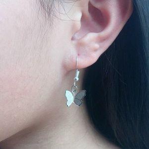 Silver Butterfly Drop Dangle Earrings